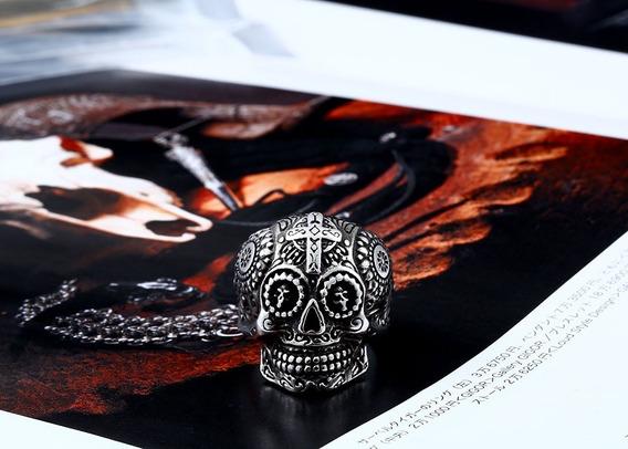 Anel Caveira Skull Onix Cores Variadas Stainless Dourado