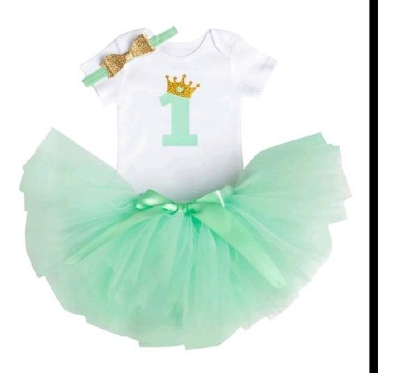 Vestido/body P/bebê Aniversário 01 Ano C/saia Tule