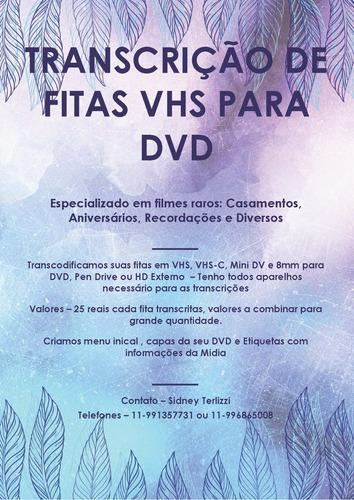 Transcrições De Vhs Para Dvd Ou Hd Externo