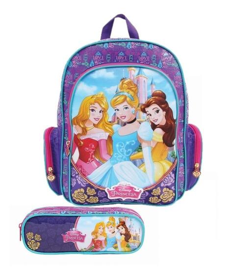 Kit Mochila Escolar G Princesas 30399 + Estojo Soft 30397