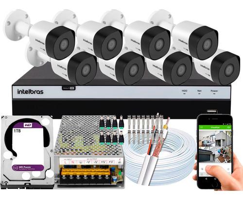 Kit Cftv Intelbras 8 Câmeras 30m 1080p Mhdx 16 Ch 1tb Purple