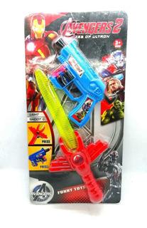Juego Juguete Pistola Y Espada De Avengers 2 Con Luz Led
