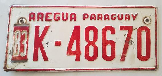 Placa Carro Antiga Ferro Paraguai Areguá K-48670
