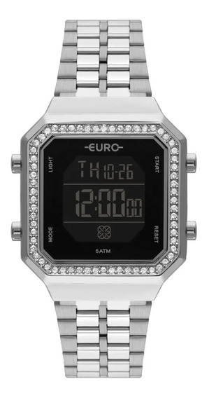 Relógio Feminino Euro Digital Prata Eubjk032ad/3p