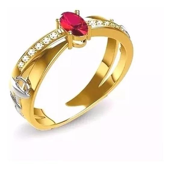 Anel Formatura Com Rubi Natural E Diamantes Ouro 18 Kl 12x