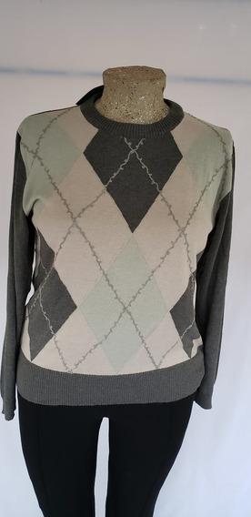 Sweater De Rombos Combinado Color Gris T/50