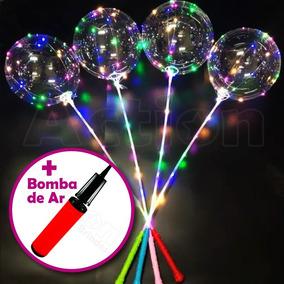 Balão De Led Transparente C/ Vareta Kit 6 Un + Bomba De Ar