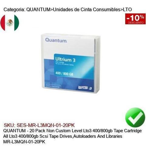 Imagen 1 de 1 de Quantum 20pk Lto3 400/800gb Cinta Respaldo Mr-l3mqn-01-20pk
