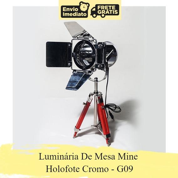 Luminária De Mesa Tripé Mine Holofote Cromo G09 Promoção