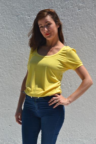 Remera Amarilla Manga Corta Modal Mujer / Blanco / Negro