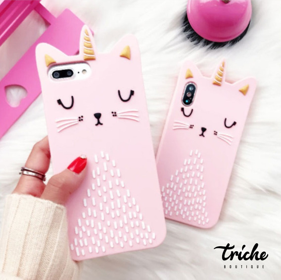 Funda Botarga Diseño Gato Unicornio Rosa Dama iPhone Xr