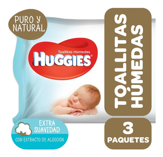 Toallas Húmedas Huggies Puro Y Natural Pack X 3