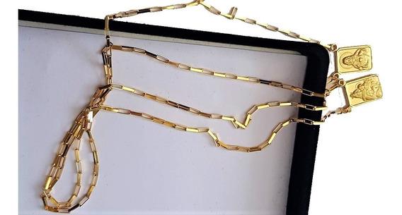 Escapulário De Ouro 18k 750 60cm Medalha Dupla Face 4,2 Gr
