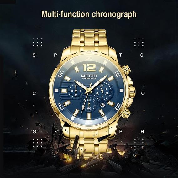 Megir 2068 Cronógrafo Relógio De Quartzo Esportes Para Homen