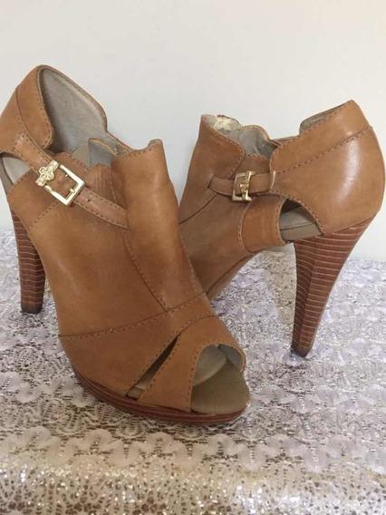 Sandália Ankle Boot Couro Nude Capodarte