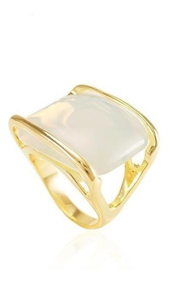 Anel Pedra Da Lua 15 Microns Ouro 18k Pedra Natural