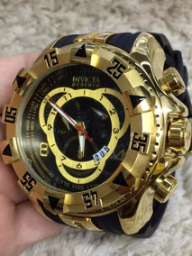Relógio Masculino Preto Fundo Dourado/preto - Frete Grátis