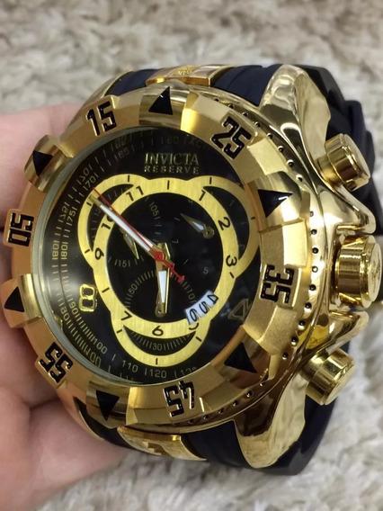 Relógio Masculino Dourado Grande - Frete Grátis
