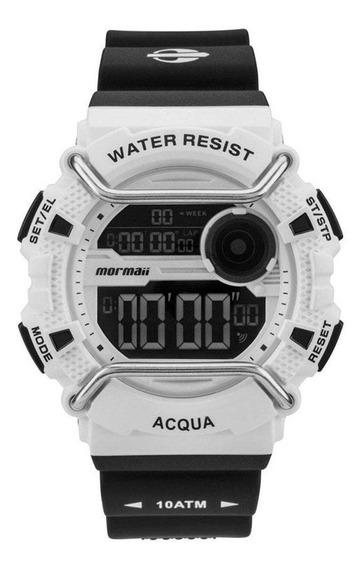 Relógio Masculino Digital Acqua Branco Com Preto - Mormaii