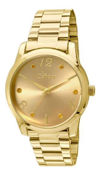 Relógio Condor Feminino Dourado Barato Nf Co2035klr/4l