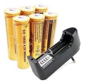 Carregador + 6 Bateria 9800mah 18650 4,2v Gold Lanterna Led