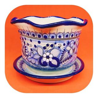 Maceta Con Plato De Talavera Poblana Tradicional Azul Color