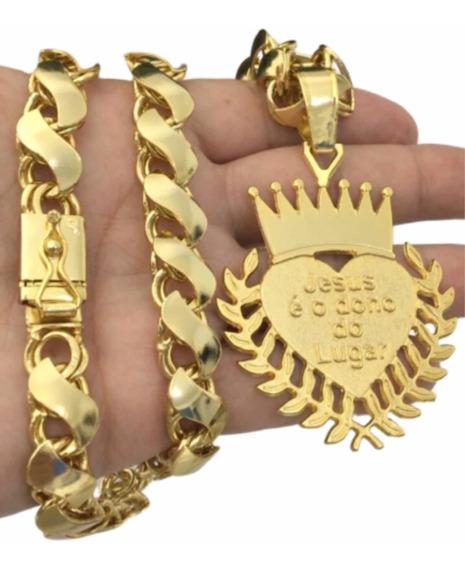 Cordão Friso S Banhado Ouro - Pingente Coração Mc Poze 12mm
