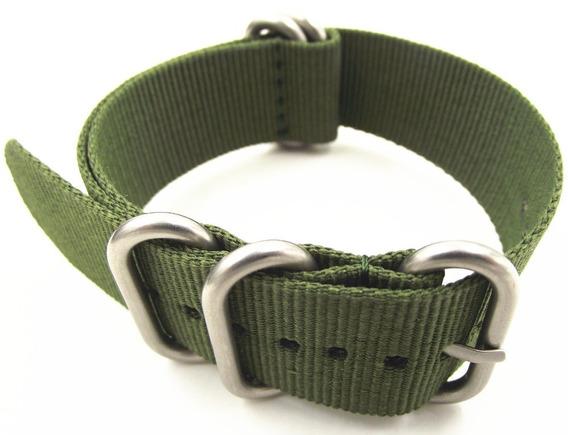 Pulseira Nato Zulu Slim Verde 20 Mm Em Aço Inox Polido