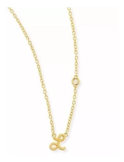 Colar Pingente Letra L Em Ouro 18k E Diamantes Vivar M12