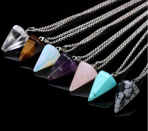 Colar Pêndulo Hexagonal Pedra Pingente Cristal Moda Jóias