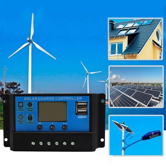 Controlador De Carga Solar 30a 12e24v Pwm 1° Linha Com Lcd