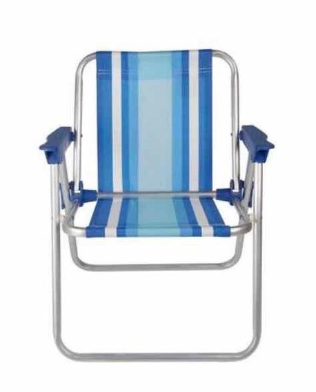 Cadeira De Praia Infantil Alta Aluminio-mor-azul