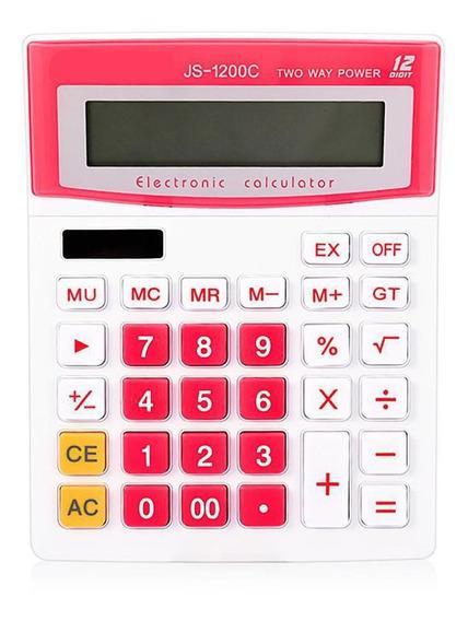 Calculadora De Rosa Eletrônica Escritório Js-1200c Solar
