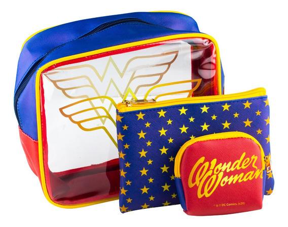 Kit Bolsas E Necessaires Mulher Maravilha Logo Wonder Woman