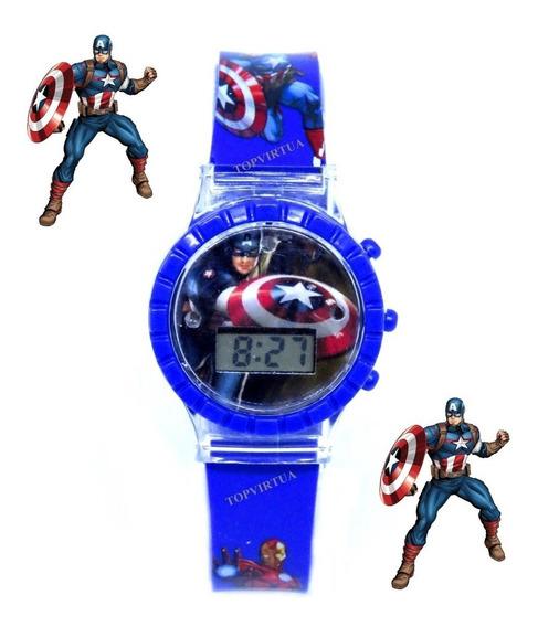 Relógio Capitão América 3d Digital Luz Som Infantil Original