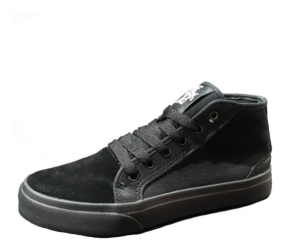 Zapatilla Media Caña Lona Con Gamuza Negras The Dark King