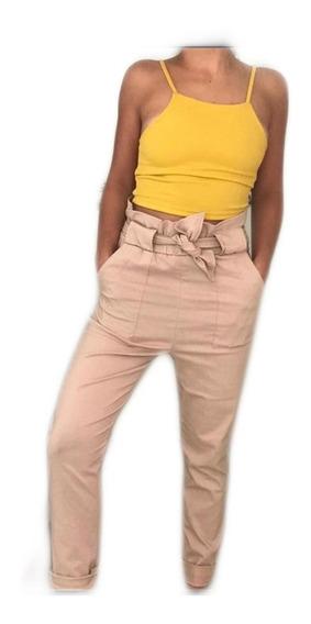 Pantalón Tiro Alto Fruncido Con Lazo