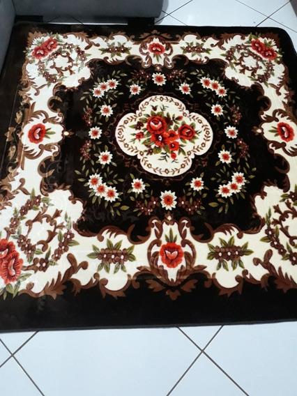 Tapete Quarto Sala 2x2,5 Estampado Em Alto Relevo Floral