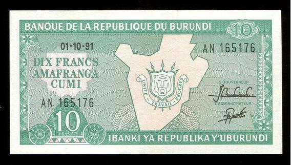 Cédulas De Burundi (duas) - Flor De Estampa - L.335