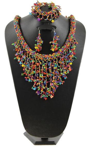 Collar Tejida En Chaquira Artesanal