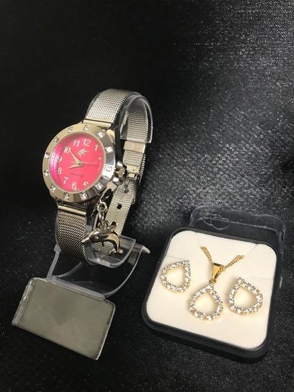 Relógio Feminino C/ Pingente + Brinde Kit Semijoia