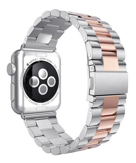 Correa D Eslabones Silverrose Apple Watch Serie 4 + Mica
