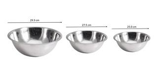 Bowl / Tazón De Acero Inoxidable, 2.5lt - 3lt - 4lt, 3pz