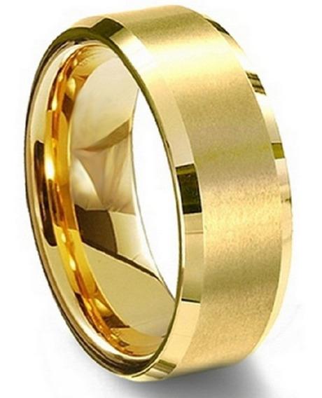 Anel De Tungstenio Chanfrado 10 Camadas Banho Ouro (unidade)
