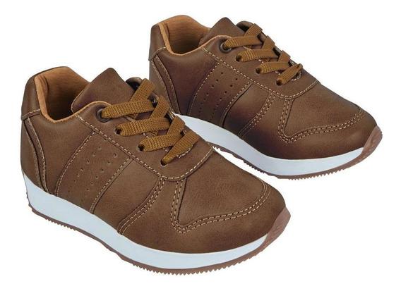 Zapato Tenis Niño Casual Efecto Piel Color Miel Con Agujetas