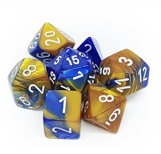Set 7 Dados Chessex - Gemini Azul Con Dorado - Juegos De Rol