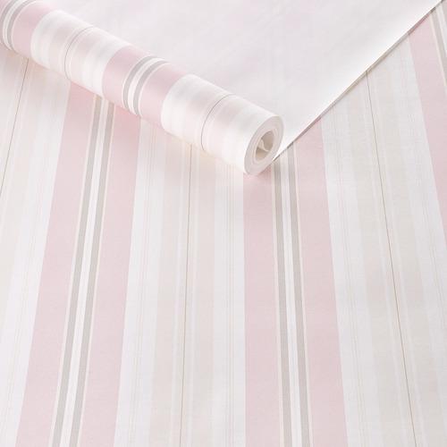 Imagem 1 de 4 de Papel De Parede Textura Emborrachada Listrado Rosa Importado