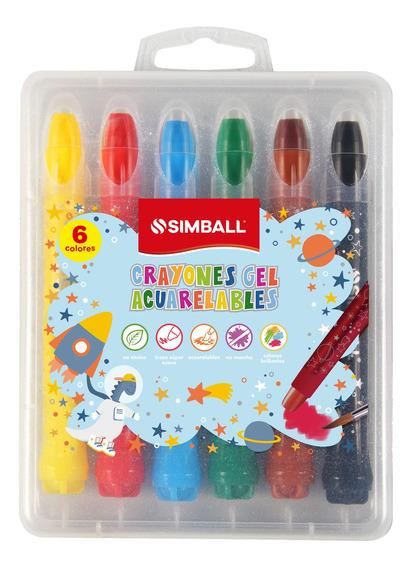 Crayones Gel Acuarelables Simball Estuche X6 Para Vidrios, P
