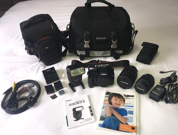 Canon Rebel T3 + Lentes + Flash + Acessórios, Pouco Uso.
