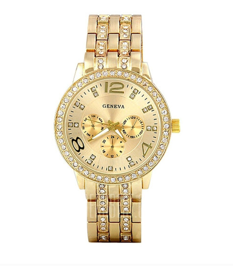 Relógio Feminino Dourado Luxuoso De Pulso Aço Inox Elegante